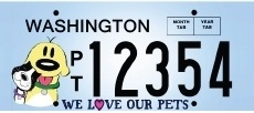 """We Love Our Pets"" License Plates"